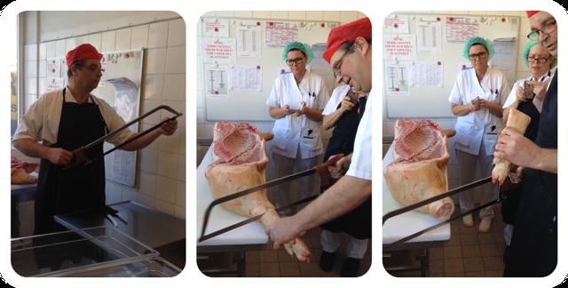 Michael tjekker saven, inden han skære grisens fod af.